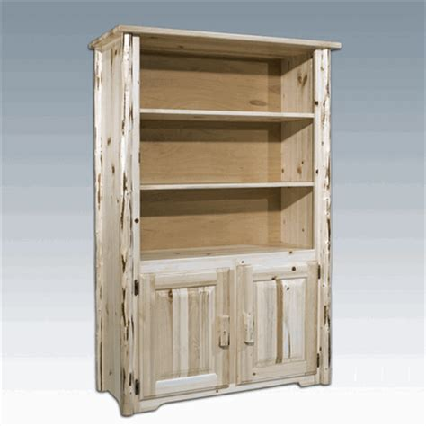 Log Bookcase by Amish Quot Montana Quot Pine Log Bookcase With Storage