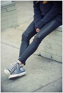 Converse girl. powder blue with leather leggings perfect. | Style | Pinterest | Powder High ...