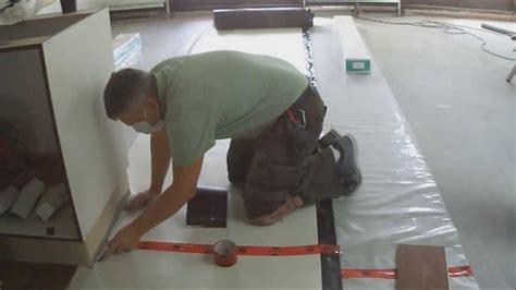 how to lay underlayment for floating hardwood laminate flooring on concrete mryoucandoityourself