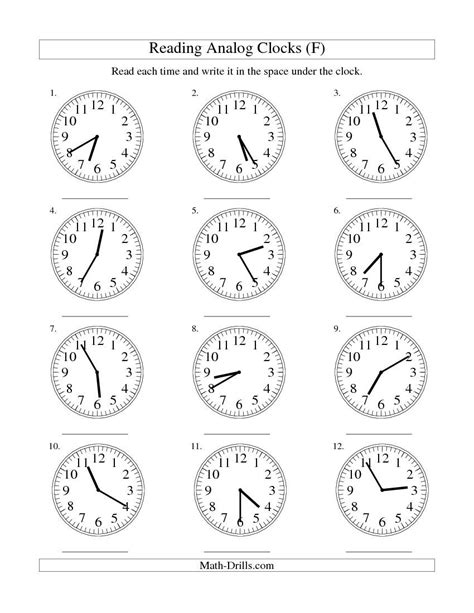 reading time on an analog clock in 5 minute intervals f
