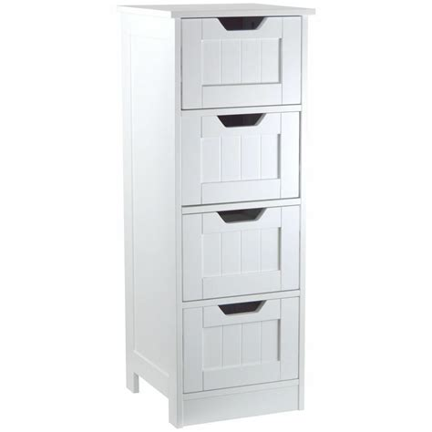 Free Standing Bathroom Cupboards by White Wooden 4 Drawer Cupboard Storage Cabinet Free