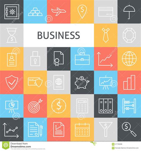 vector flat line modern business icons set stock