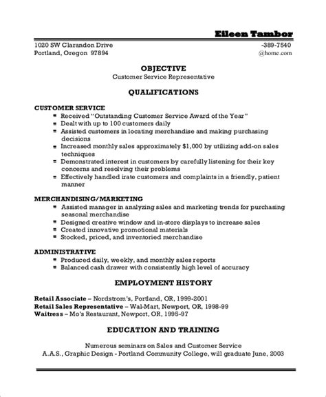 Objective On Resume For Customer Service by Sle Resume Objective Statement 8 Exles In Pdf