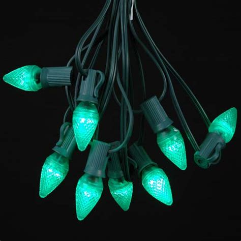 green led c7 outdoor string light set on green wire