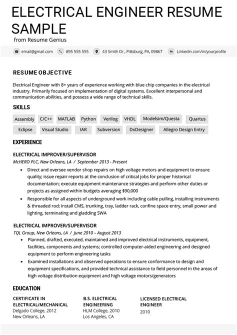 electrical engineer resume  writing tips resume