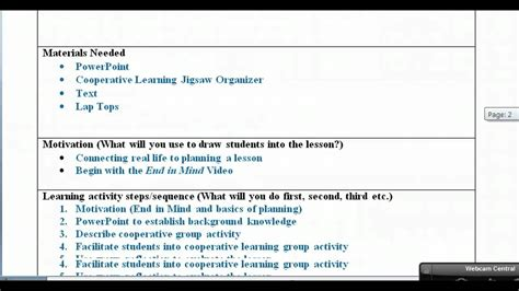 lesson plan  examples video youtube
