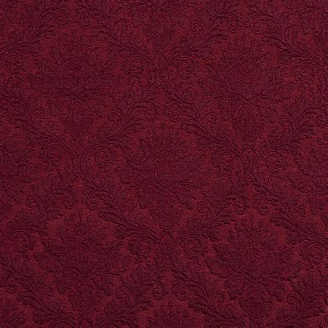 Jacquard Upholstery by E536 Burgundy Floral Durable Jacquard Upholstery Grade