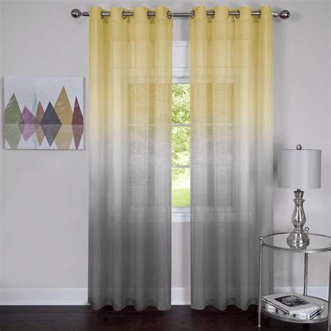 yellow and grey curtain this semi sheer curtain panel comes in two different ombre patterns the yellow to grey and
