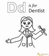 Coloring Dentist Letter Learning Alphabet Sheet Donut sketch template