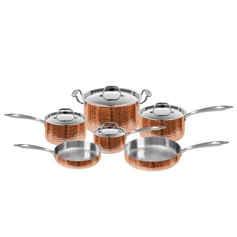 cookware set fleischer wolf seville hammered copper  piece pots  pans cookware set