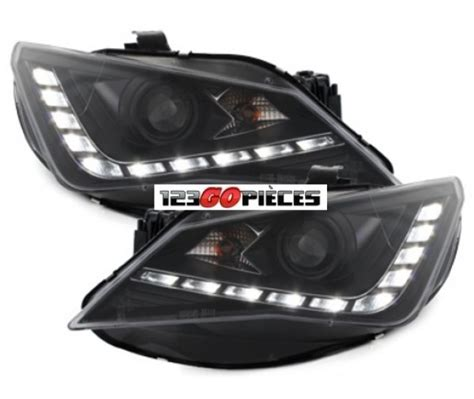 paire de phares avants led design noir seat ibiza