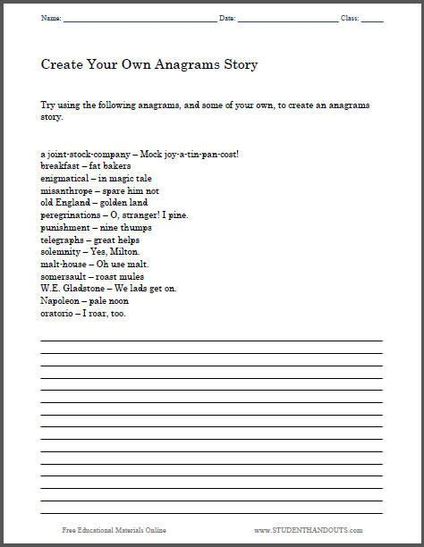 create your own anagrams story here s a free printable worksheet to help students get started