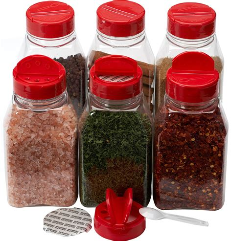 Spice Jars by Baire Bottles 8 Oz Clear Plastic Spice Jars