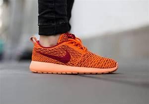 nike flyknit roshe run total orange sneaker bar detroit