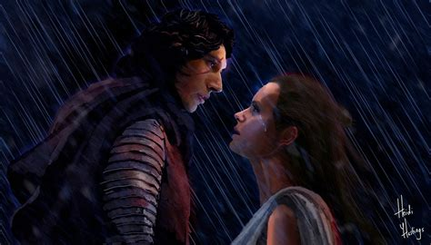 Rey And Kylo Ren Drawing (close Up) By Heidihastings On