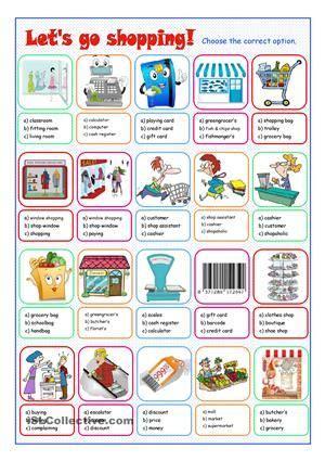 multiple choice exercise  shopping  practise