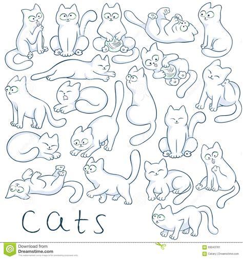 vector hand drawn set  cats   poses