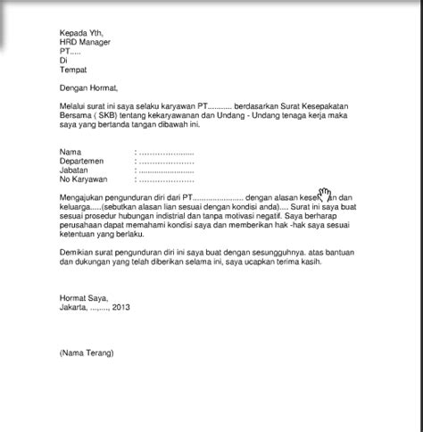 Surat Resign Yang Baik Dan Benar by Contoh Surat Resign Yang Formal Contoh Z