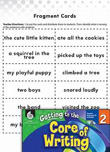 Writing Lesson  Writing Complete Sentences Level 2
