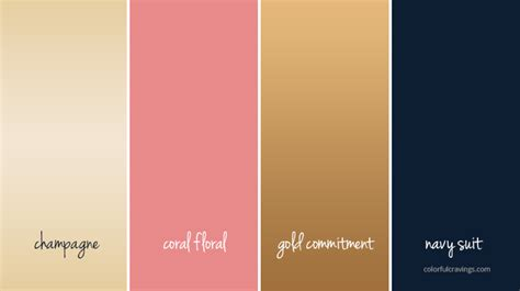 color palette gold navy coral chagne wedding colors