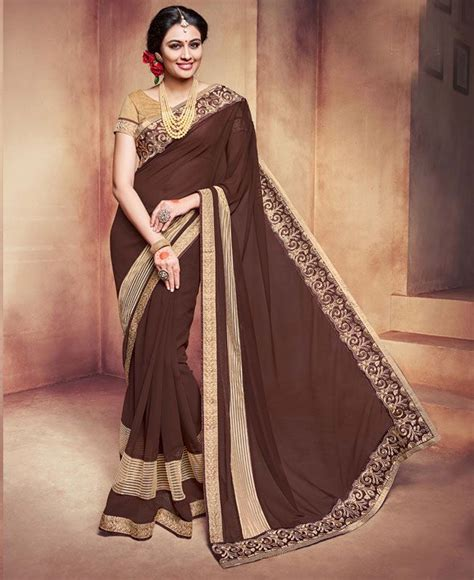 The common rule is that lighter shades are teamed with dark colored blouses, while darker shades go well with light hues. Buy Amazing Coffee Brown Georgette Saree 89717 at ₹ 2,475.32