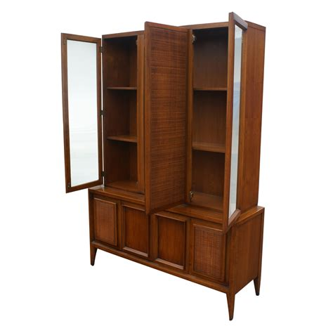Wooden China Cabinet by 52 Quot X 73 Quot Vintage Wood Cane Glass Hutch China Cabinet