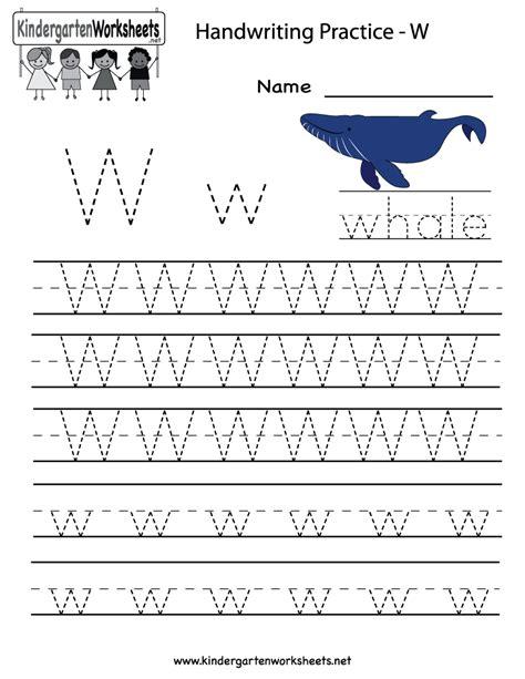 kindergarten letter w writing practice worksheet printable handwriting pinterest writing