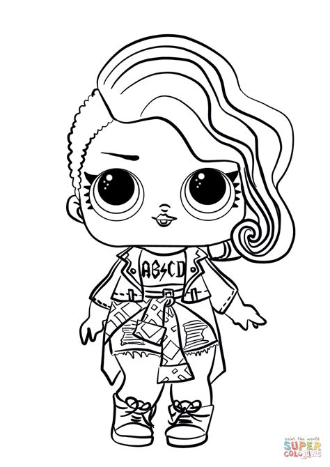 coloring doll lol doll rocker coloring page free printable