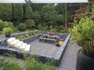 terrasse mit gabionenmauer umranden gemutliche sitzecke fur den garten gabiona gabionen und With sitzecke terrasse