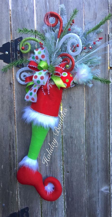 grinch stocking door hanger  holiday baubles trendy