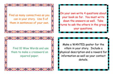 guided reading activity cards by lizdoig teaching resources