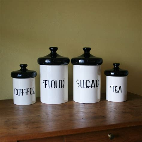 white canisters for kitchen vintage black and white ceramic canister set designs