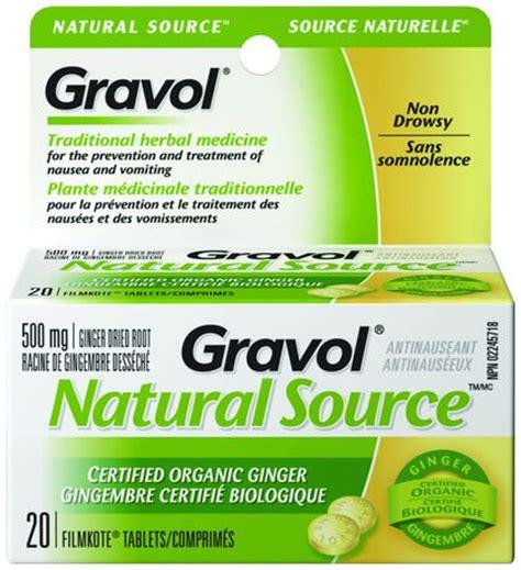 gravol natural source ginger dried root  mg tablets