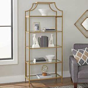Glass Etagere Bookcase by Gold Bronze Metal Frame And Glass Glam Etagere Shelf Unit
