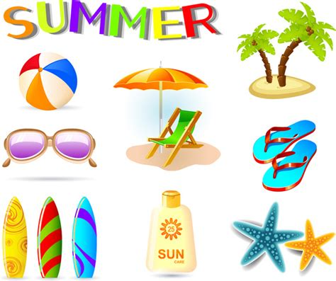 vector illustration  summer holiday icons  vector