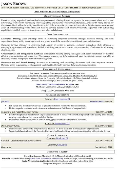 theater and manager resume sle resume sles