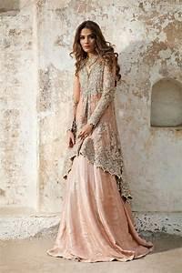 latest designer bridal dresses peachy pink back trail With pakistani designer wedding dresses
