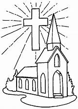 Church Coloring Pages Printable Christian Cross Bible Books sketch template