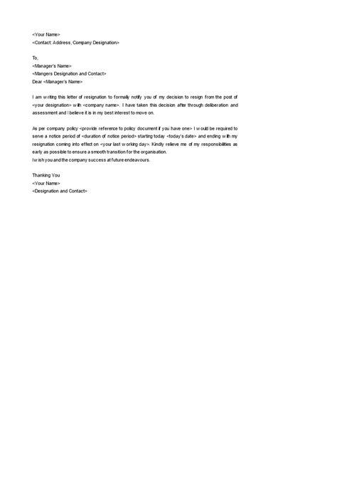 simple resignation notice template templates