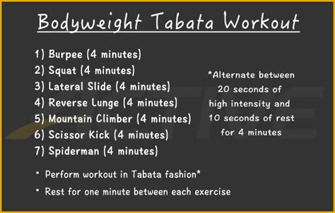 Minute Bodyweight Tabata Workout Active
