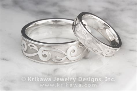 Delicate Leaf Mens Wedding Ring