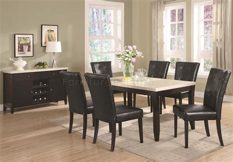 Cappuccino Finish & White Faux Marble Top Dining Table w