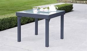 Table Extensible Grise : table de jardin carr e extensible grise anthracite 4 8 personnes ~ Teatrodelosmanantiales.com Idées de Décoration