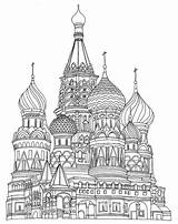 Coloring Pages Adult Cathedral Basil St Saint Drawings Printable Illustration Moscow Agency Centralillustration Line sketch template