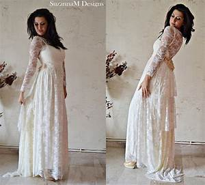 ivory lace bohemian wedding dress maxi bridal by With ivory lace wedding dress