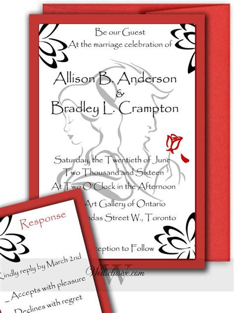 beauty   beast wedding invitations disney wedding