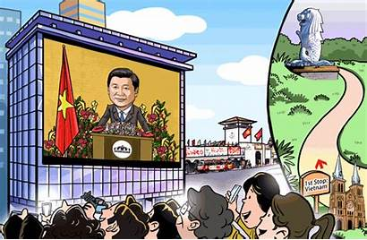 President Vietnam Community Cartoon China Xi Building