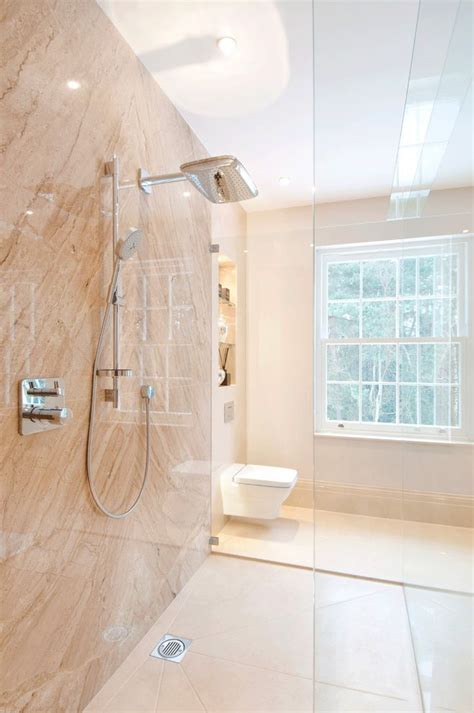 No Threshold Shower for Contemporary Bathroom and Curbless