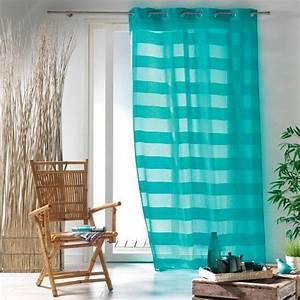 Voilage Bleu Turquoise : voilage 140 x h240 cm ushuaia turquoise voilage eminza ~ Teatrodelosmanantiales.com Idées de Décoration