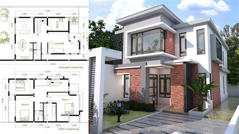 modern house layout sketchup modern home plan size 8x12m with 3 bedroom
